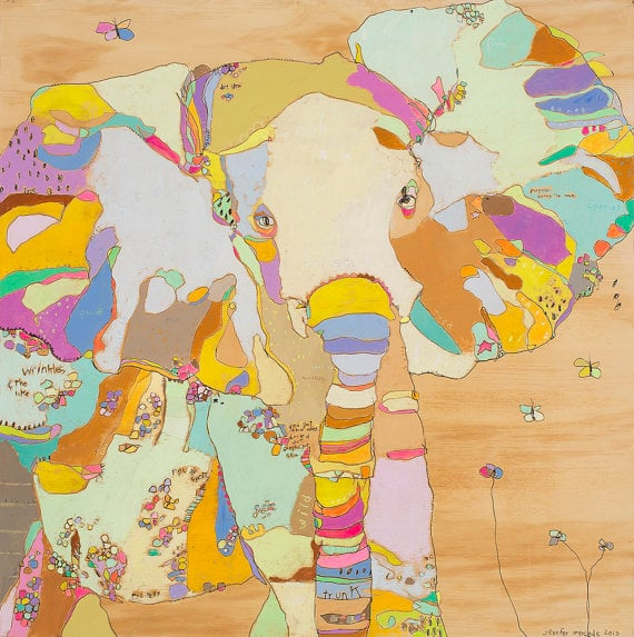 "Jennifer Mercede -  Elephant Funk Babe  - Canvas Print - 24"" x 24"""