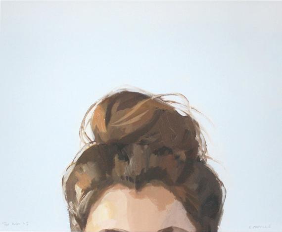 "Elizabeth Mayville - 8"" x 10"" hair art - bun print -  ""top knot 45"""