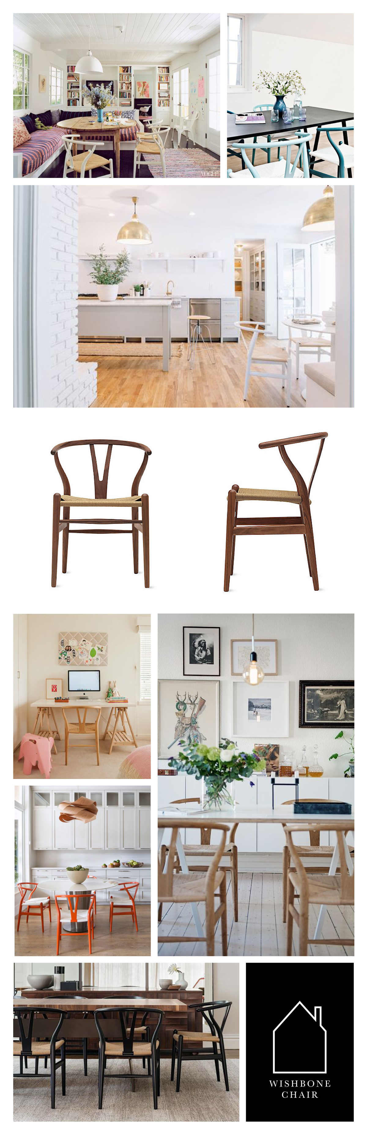 from top left - home of Amanda Peet via  VOGUE  - wishbone chairs in blue via  REMODELISTA  -  kitchen design by  Pencil & Paper Development Co.  - wishbone chair in walnut via  DWR  - kids desk space via  StyleCaster  - source unknown - design by  Krista Watterworth  - Figtree House by  Arent & Pyke