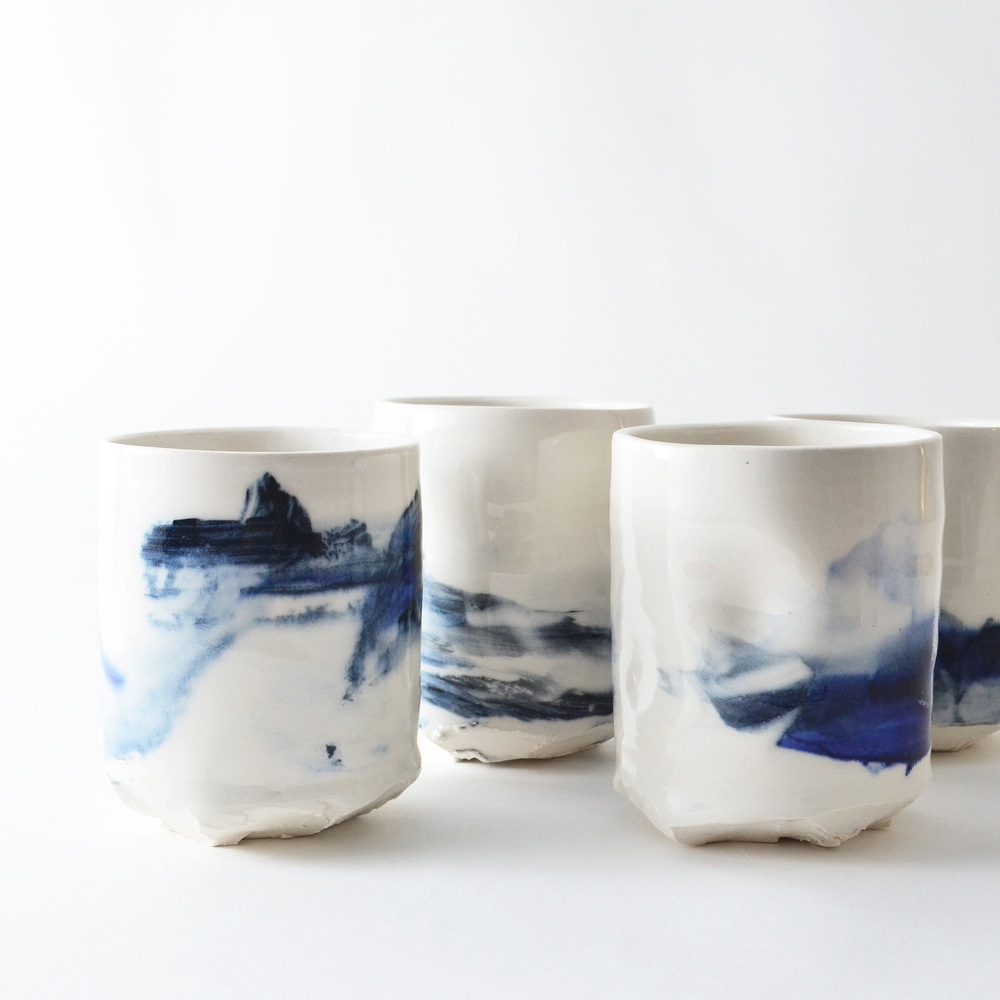set of 2 - altered porcelain tumblers