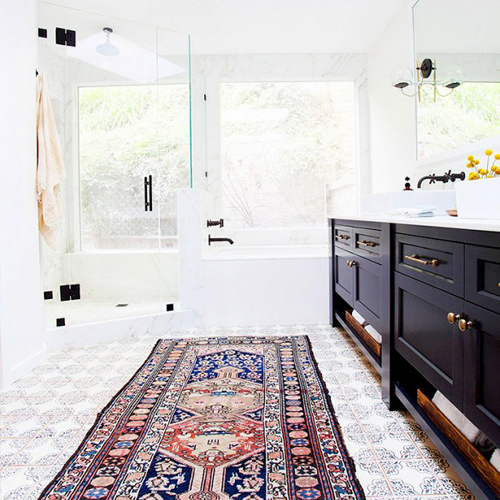 antique rugs in the bathroom  april 6, 2015