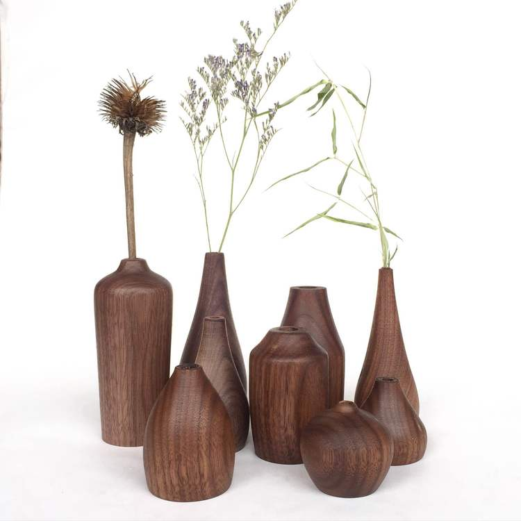 assorted six small walnut vases  by Colin Garrity | THE PLACE HOME
