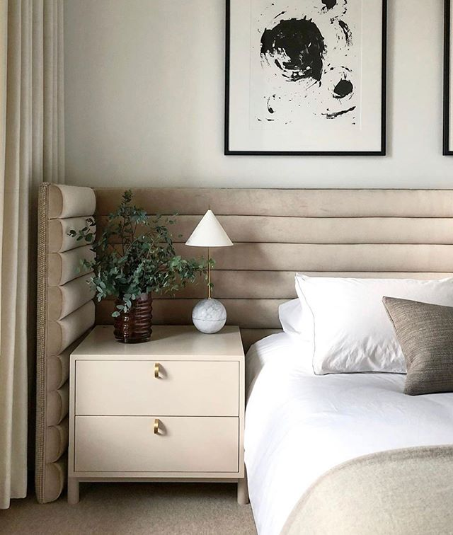 | serenity | the state of being calm, peaceful, and untroubled. . Meet the uncomplicated husband-and-wife duo @kaemingkdesign who masterfully designed this beautiful, well-appointed and modern (but timeless) bedroom. . This is just a peek of what this couple is capable of creating. Do not just take my word for it, head over to @kaemingkdesign and see for yourself. You won't be disappointed. . . . . #bedroominspiration #customheadboard #custombed #moderninterior #moderninteriors #authenticdesign #interiors #interior2you #interiorismo #interiorstyling #luxuryinteriordesign #monochromaticdesign #calminteriors #calmainterior