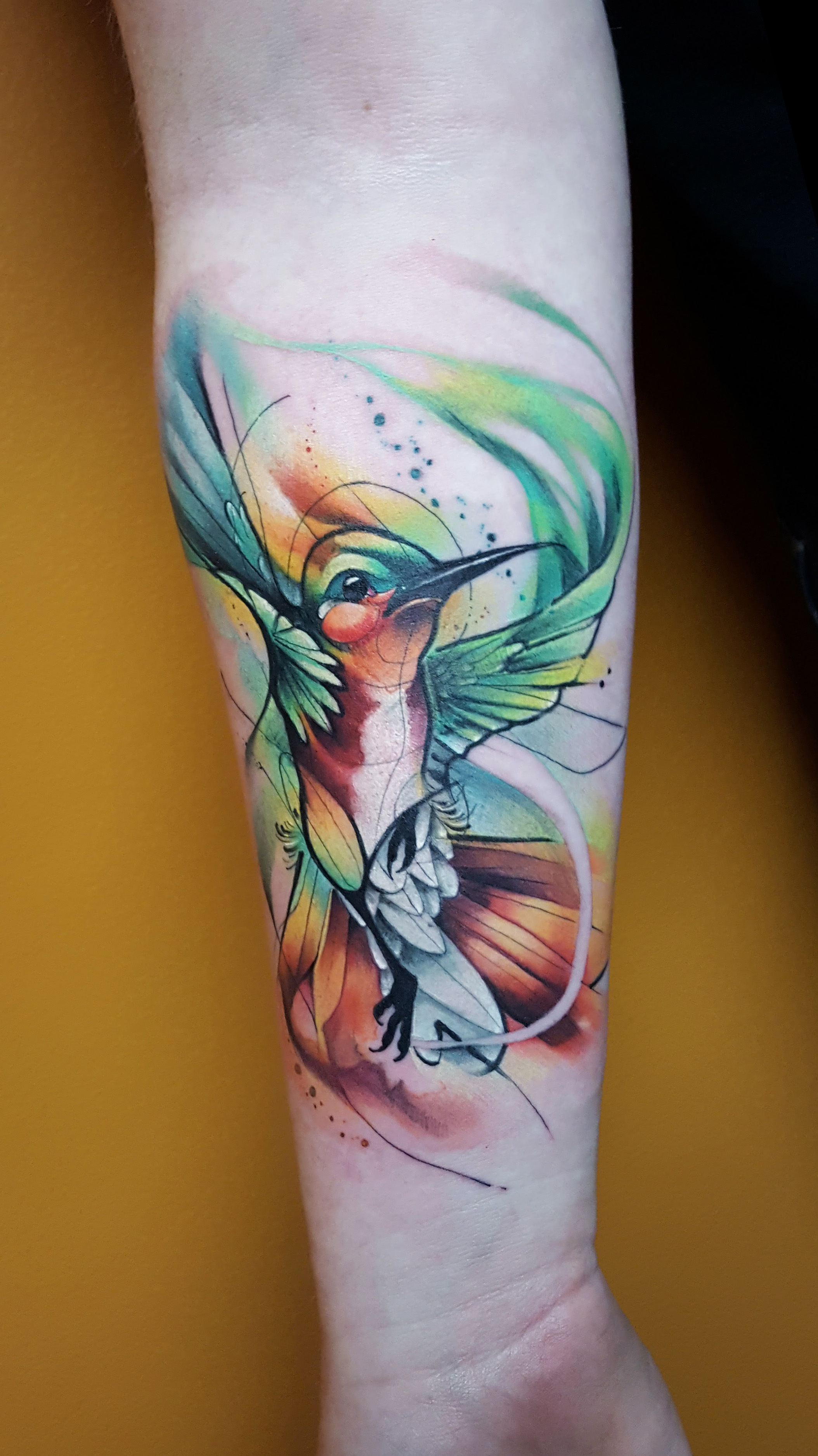 Watercolor Tattoo Hummingbird Forearm.jpg