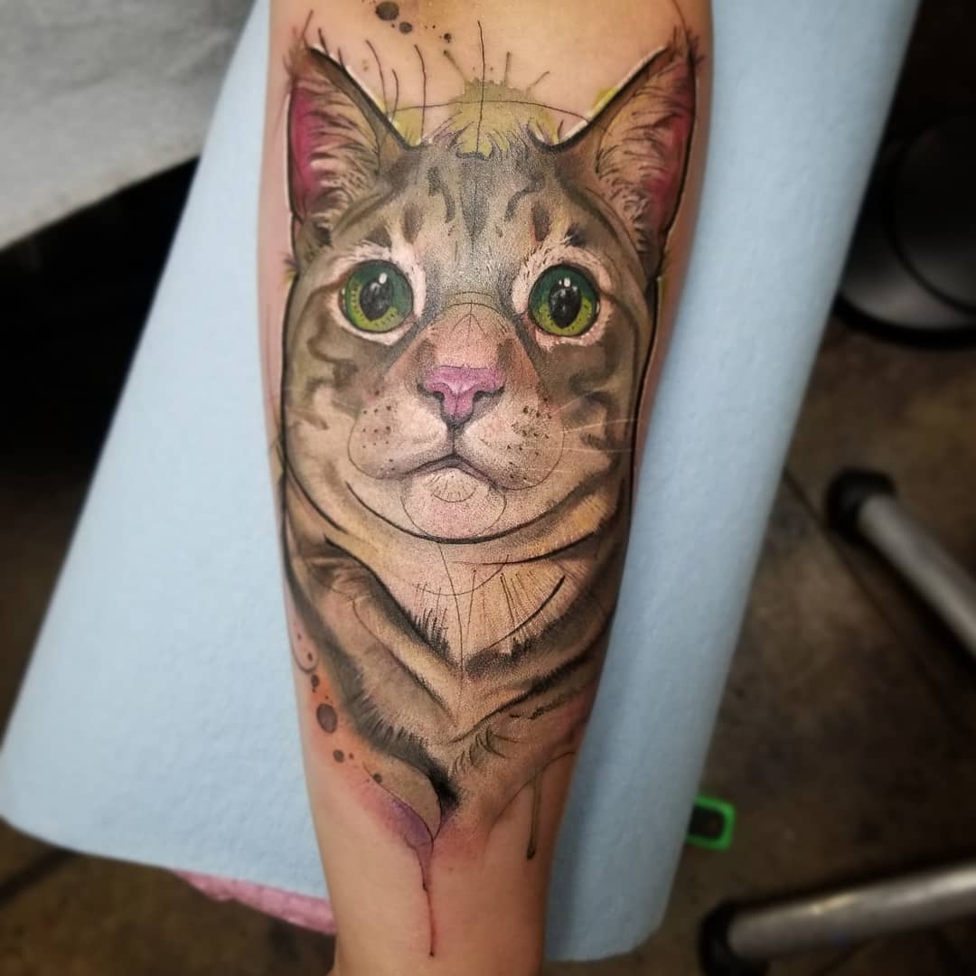 Watercolor Tattoo Cat Portrait .jpg