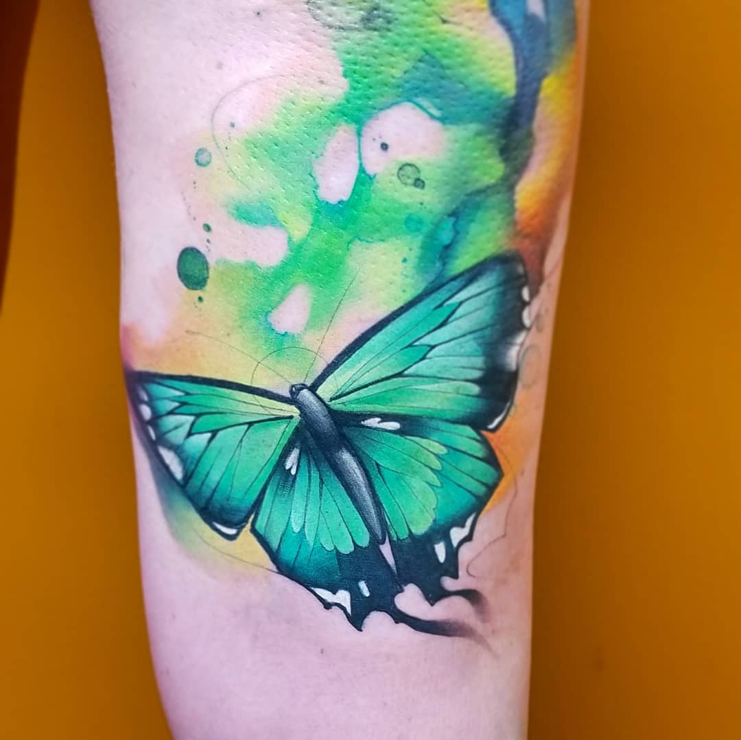 Watercolor Tattoo Butterfly Green.jpg