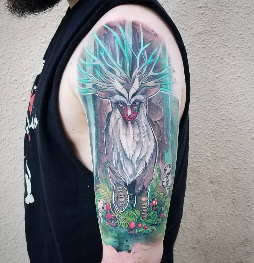 Watercolor Tattoo Studio Ghibli Princess Mononoke  Forest Spirit.jpg