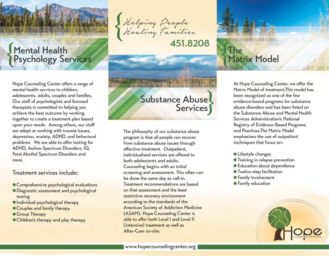 "Tri-Fold Brochure<a href=""#"">◉</a><strong>Hope Counseling</strong>"