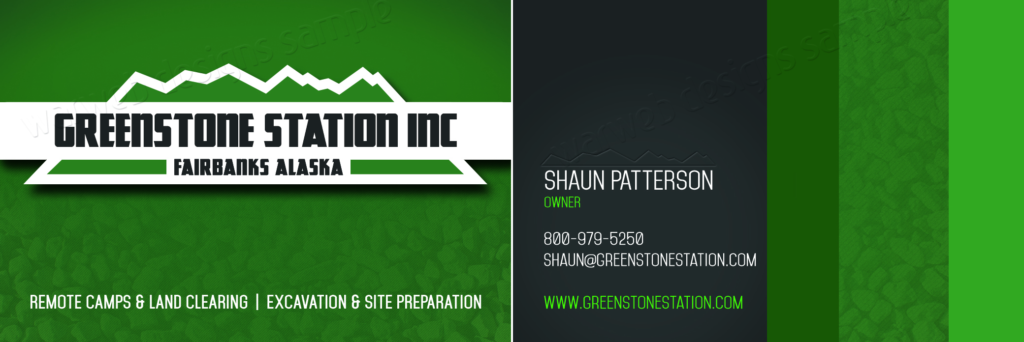 "Business Card<a href=""#"">◉</a><strong>Greenstone Station</strong>"