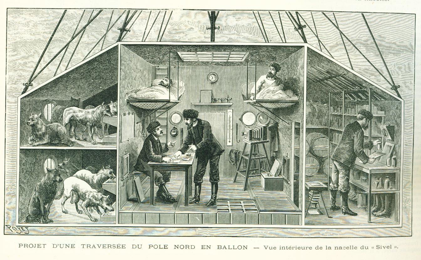 Figure   3. Poyet, «Projet d'une traversée du pole Nord en ballon» from  L'Illustration , no. 2488, p. 374, 1er   novembre, 1890