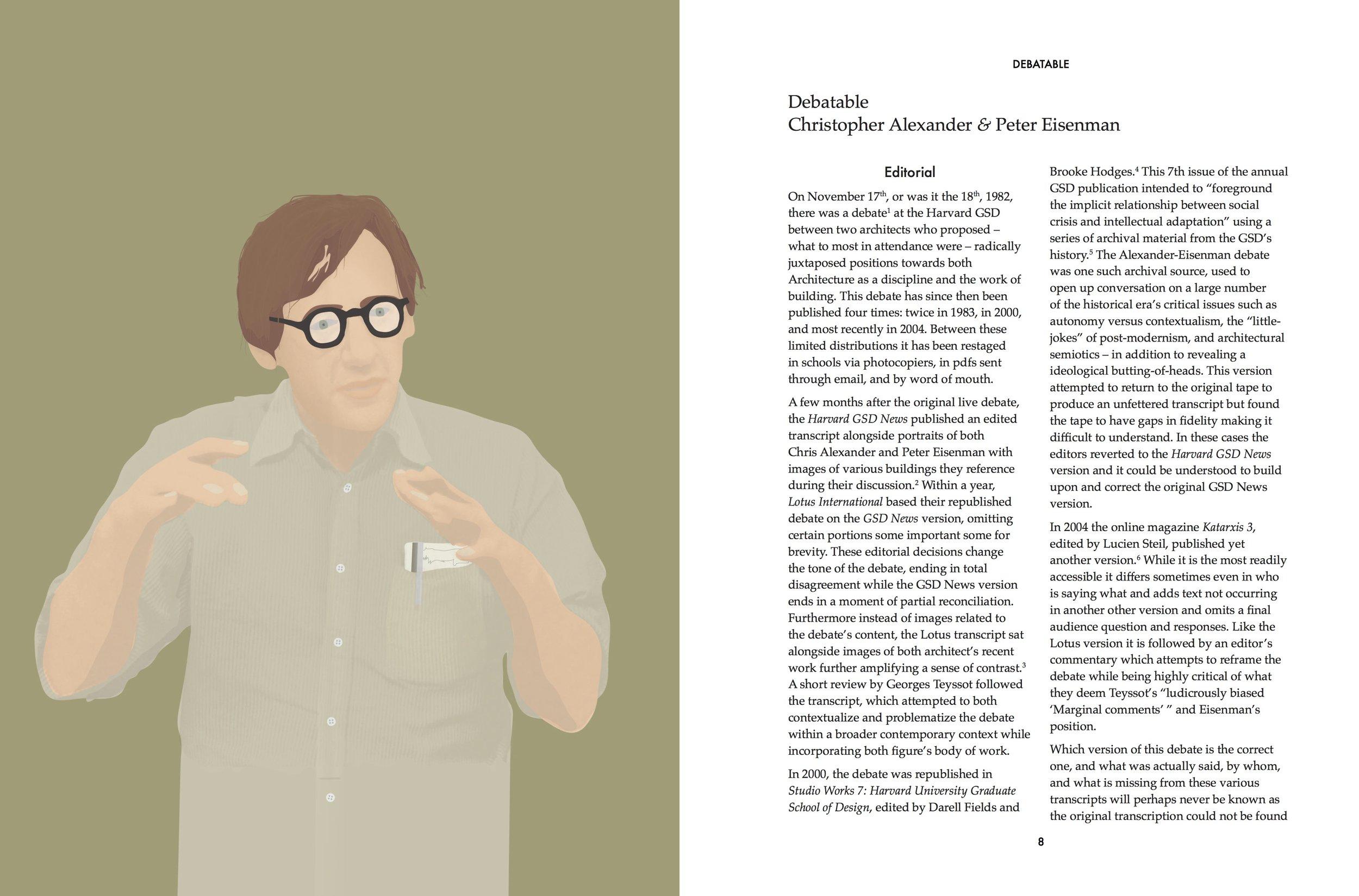 """Debatable —Christopher Alexander & Peter Eisenman"" The canonical debate republished again."