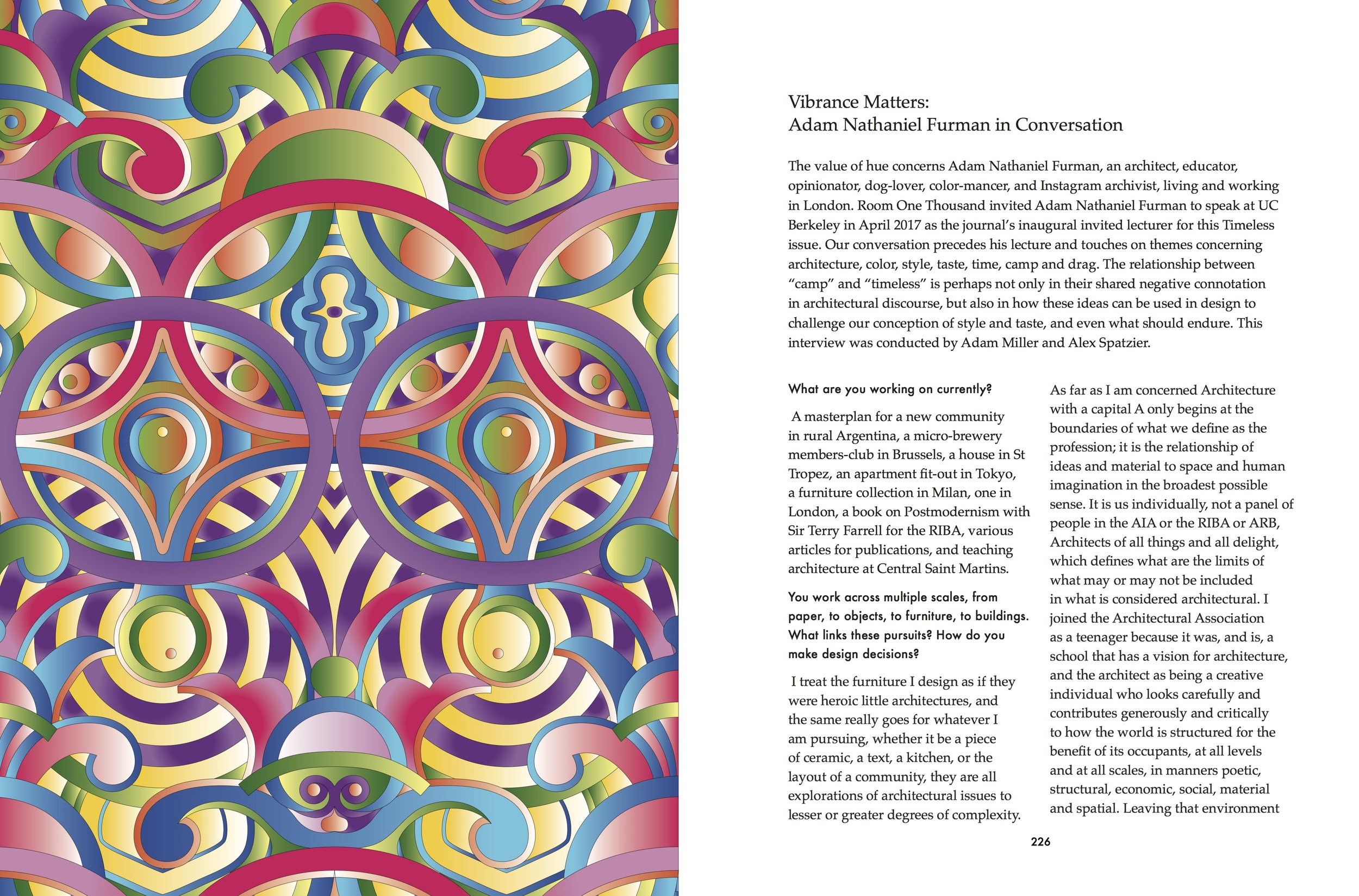 """""""Vibrance Matters: Adam Nathaniel Furman in Conversation"""" conducted by Adam Miller and Alex Spatzier."""