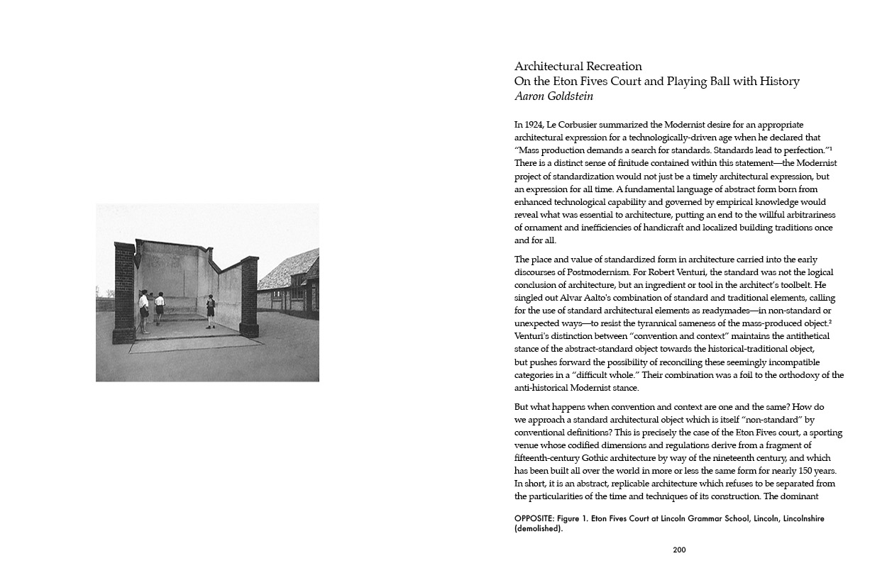 """""""Architectural Recreation — On the Eton Fives Court and Playing Ball with History"""" by Aaron Goldstein."""