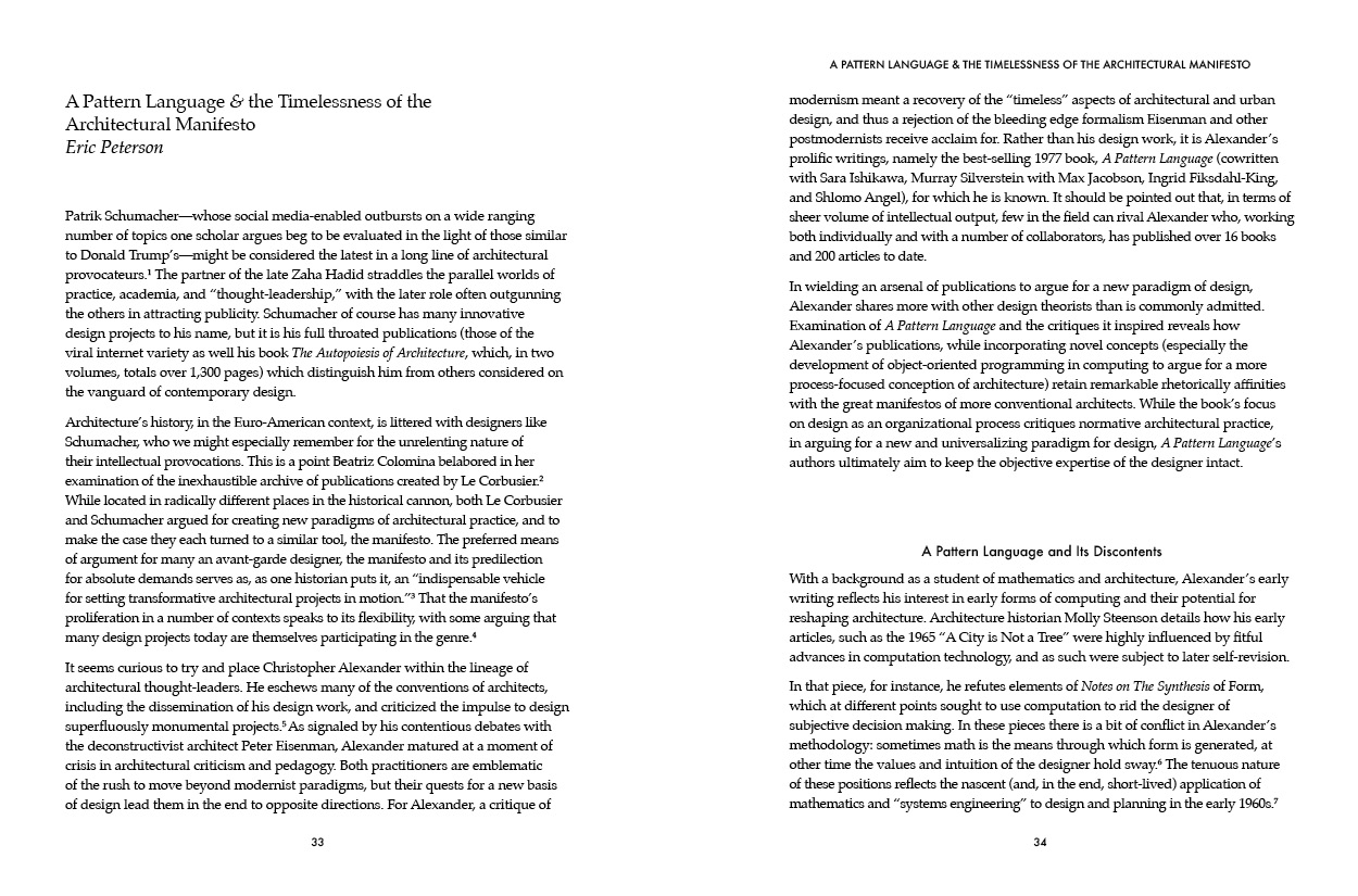 """""""A Pattern Language  &  the Timelessness of the Architectural Manifesto"""" by Eric Peterson."""