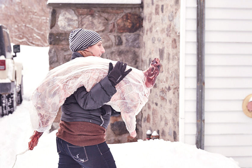 Ruby Duke of Raven & Boar bringing in the fresh kill.