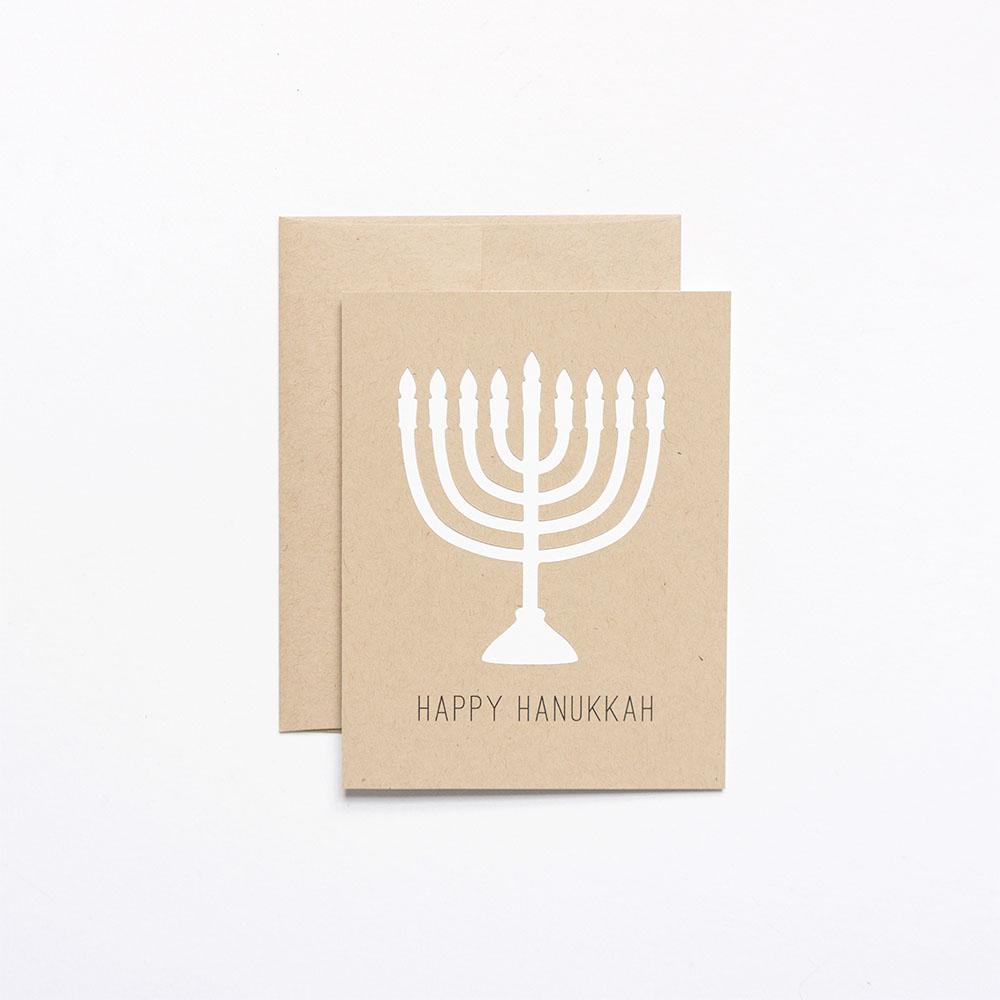 Happy Hanukkah Menorah Greeting Card // Evermore Paper Co.