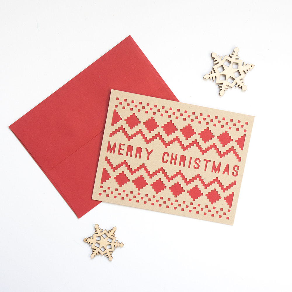 Sweater-Patterned Merry Christmas Card // Evermore Paper Co.