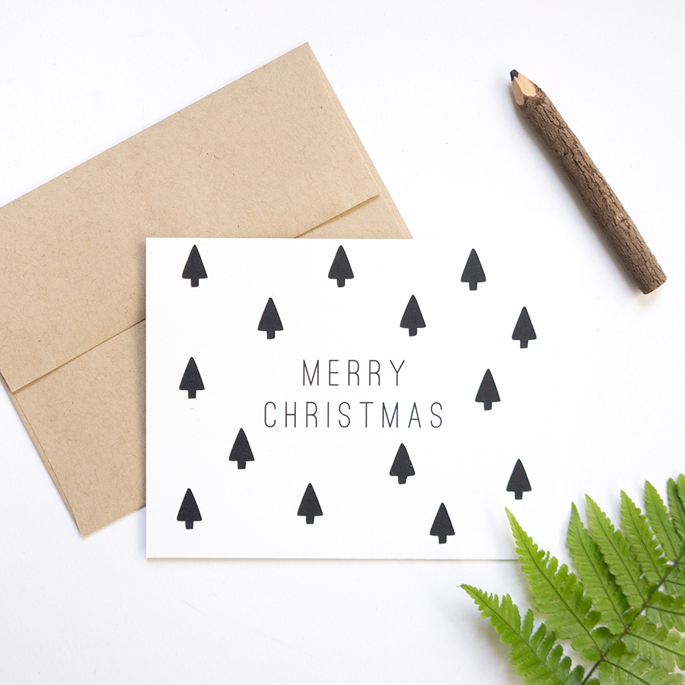 Tree-Patterned Merry Christmas Card // Evermore Paper Co.