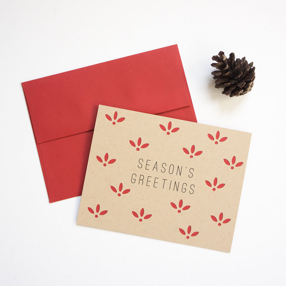 Floral Patterned Season's Greetings Card // Evermore Paper Co.