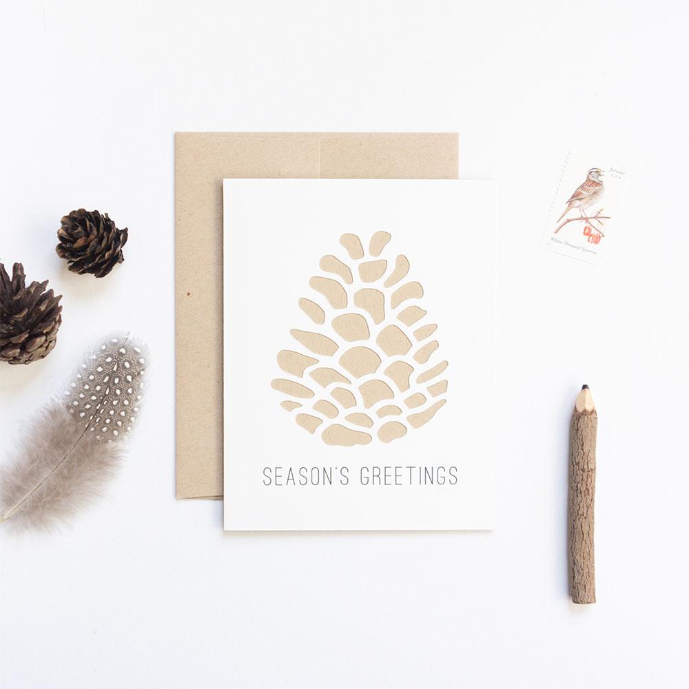 Pinecone Season's Greetings Card