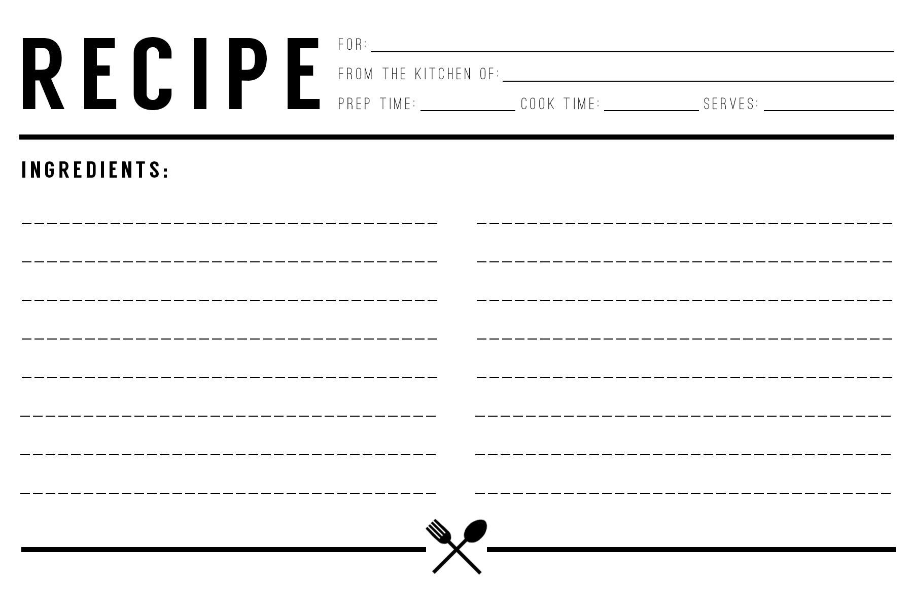 Recipe Card Download // Evermore Paper Co.