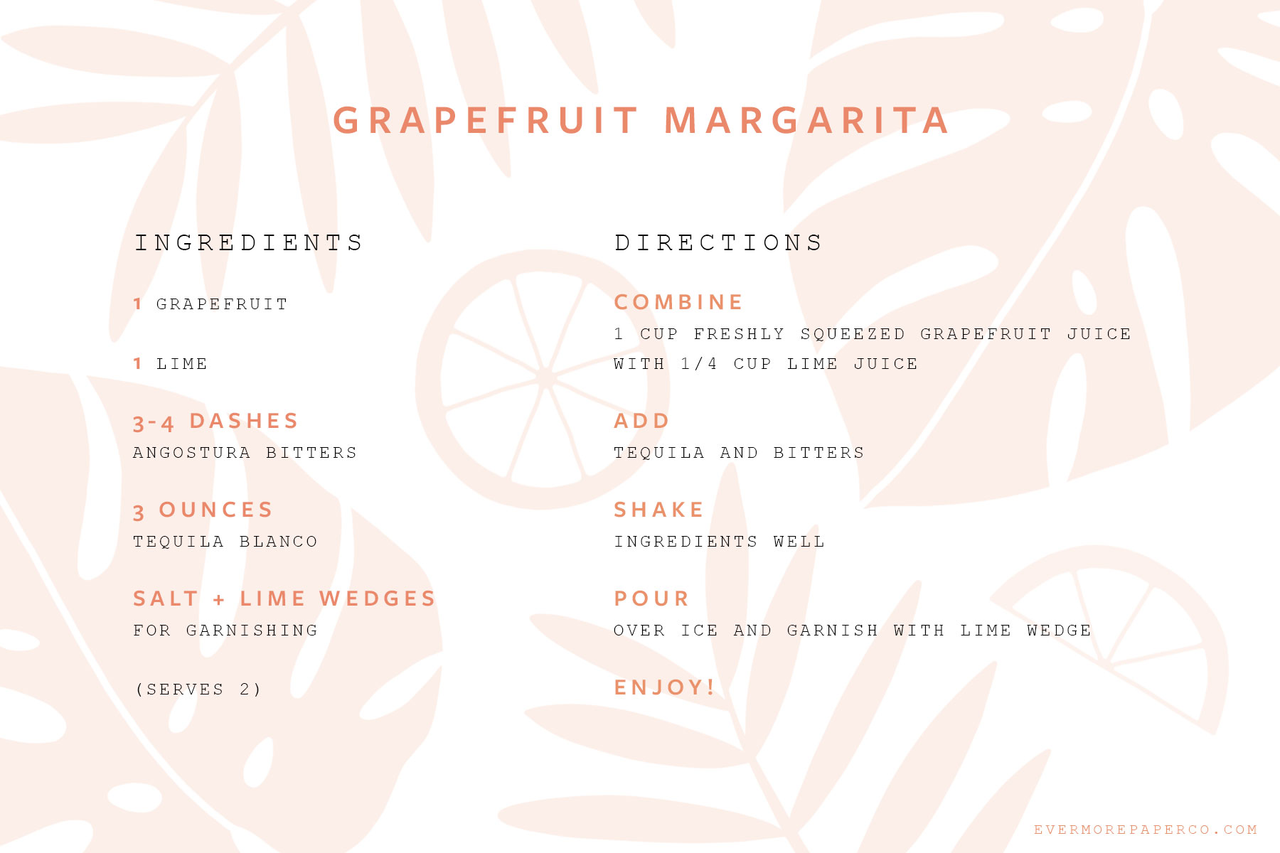 Grapefruit margarita recipe card download from Evermore Paper Co.