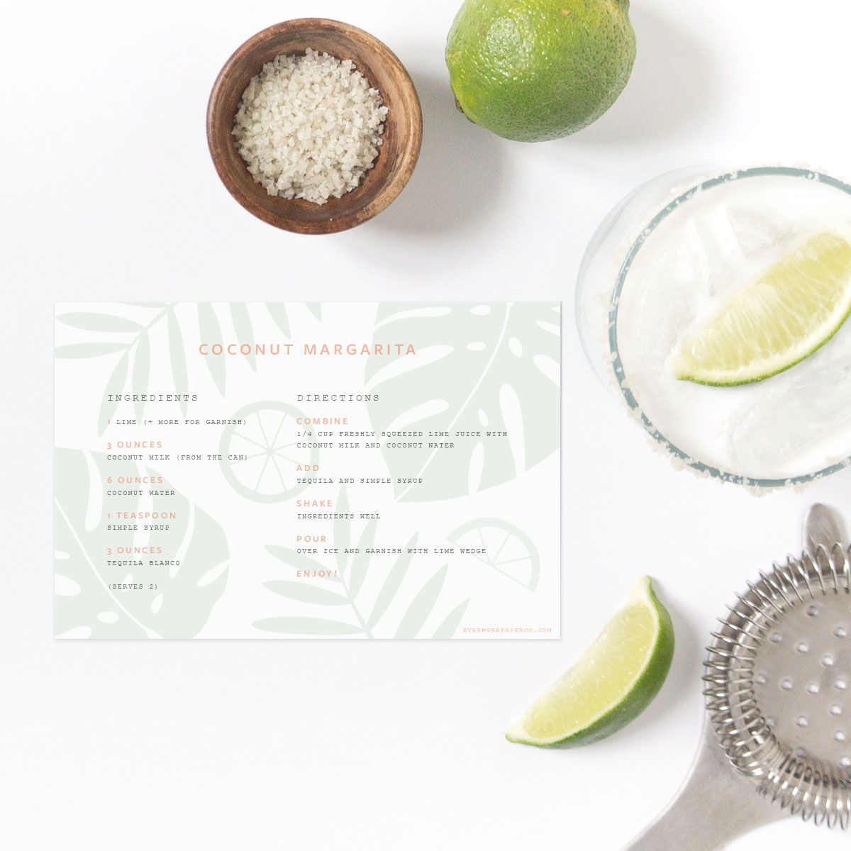 Margarita Recipe card download for Cinco de Mayo from Evermore Paper Co.