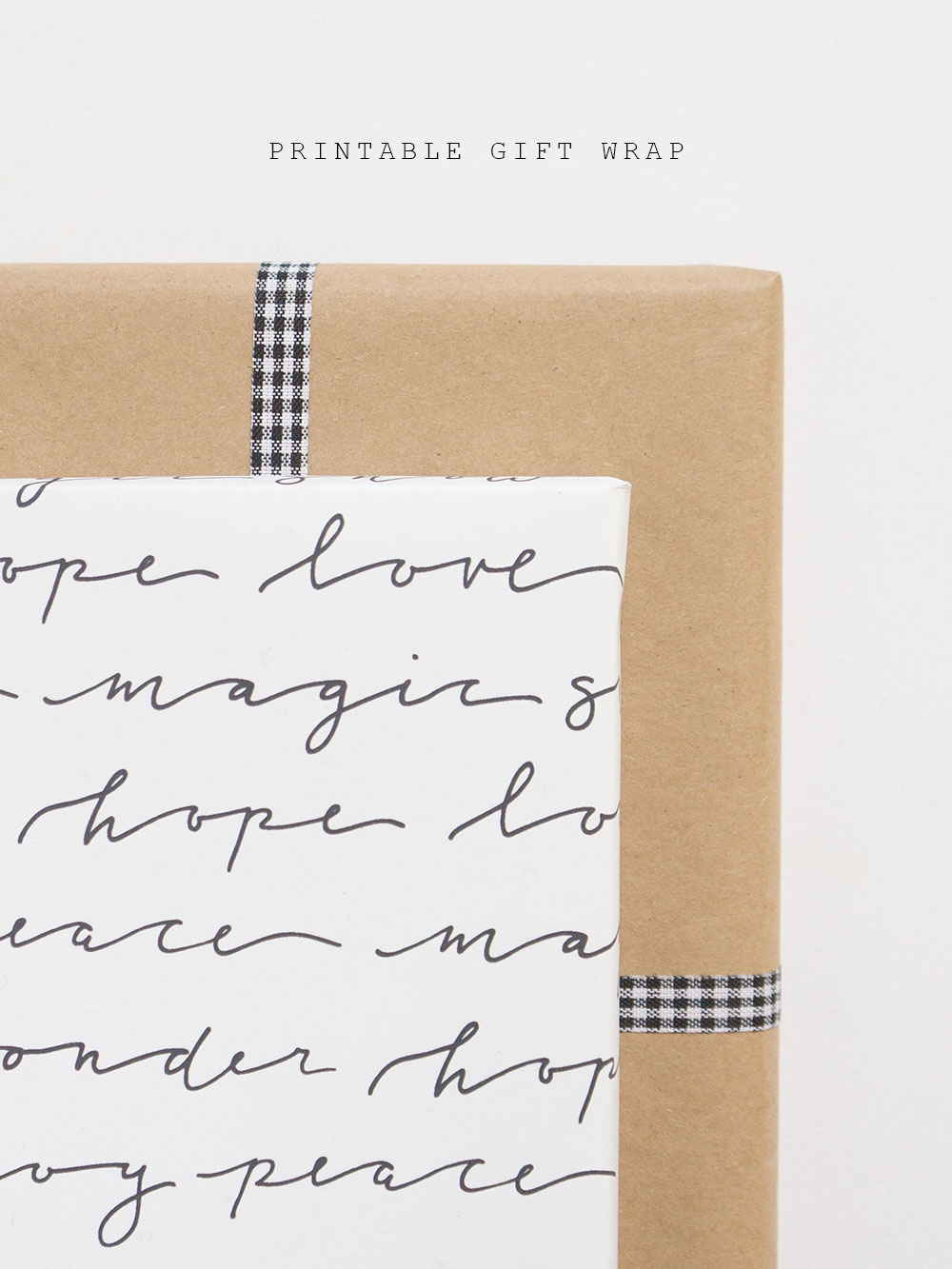 minimal hand-lettered holiday gift wrap | free download