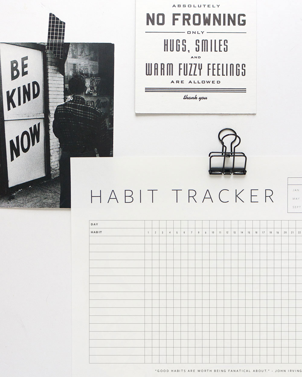 photo about Daily Habit Tracker Printable titled Cost-free Printable Pattern Tracker Evermore Paper Co.