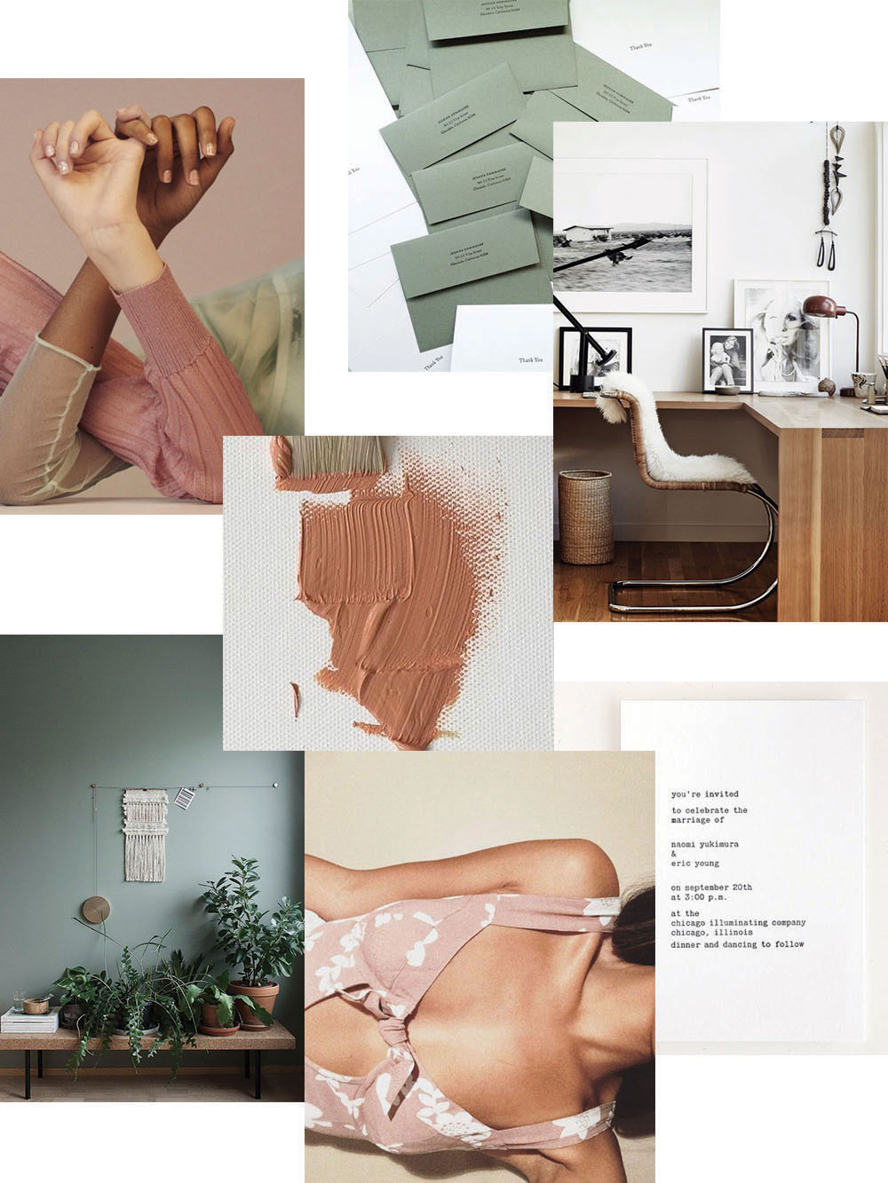color combo: sage and dusty rose with skin tones