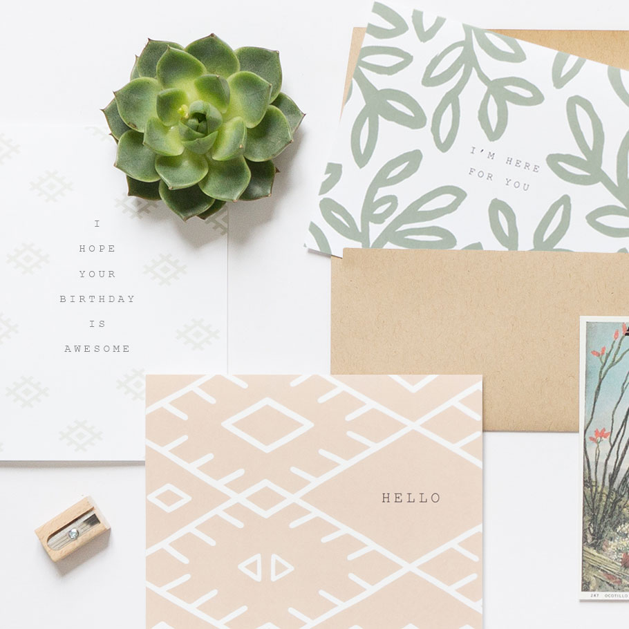 Cool boho greeting cards by Evermore Paper
