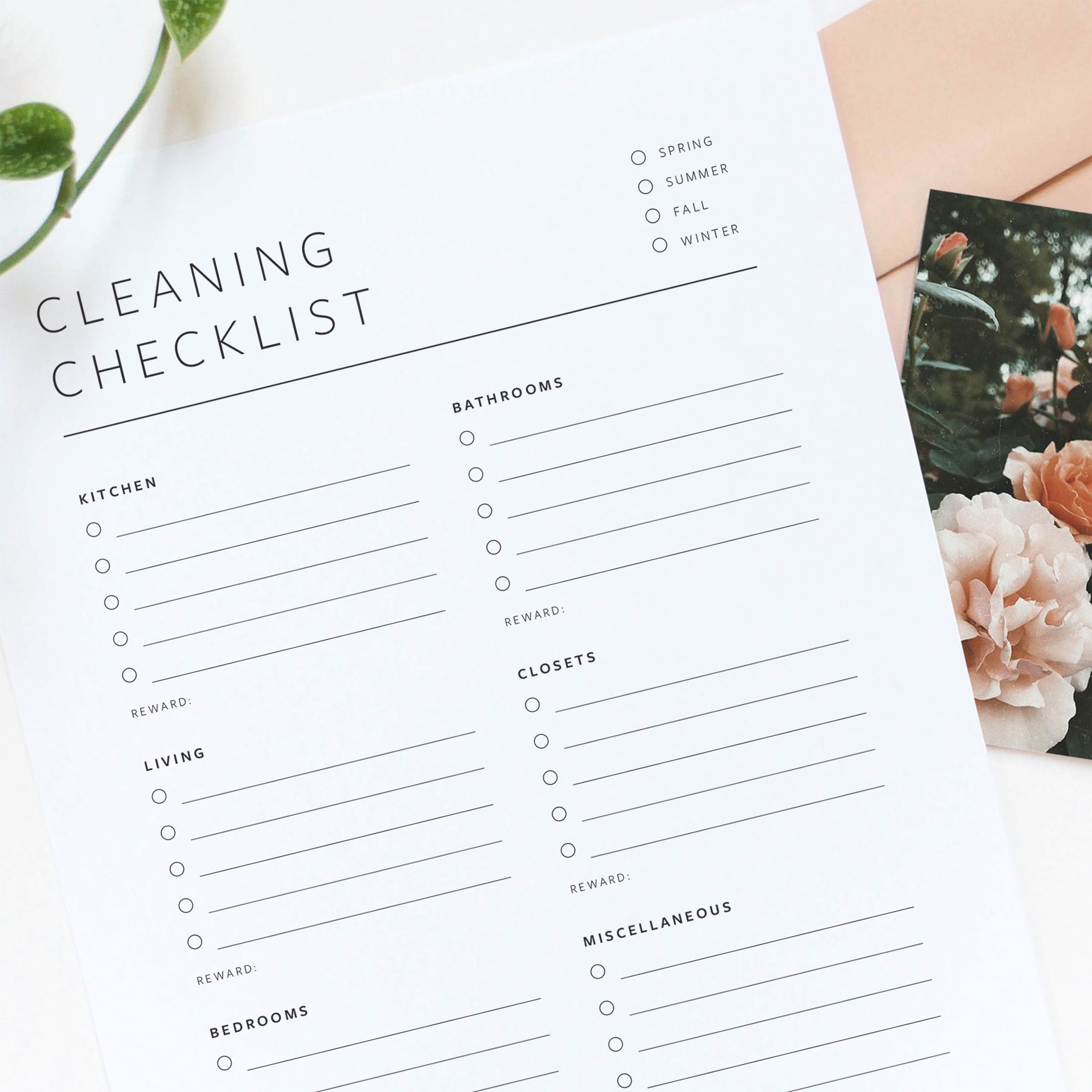 Free printable cleaning checklist from Evermore Paper Co.