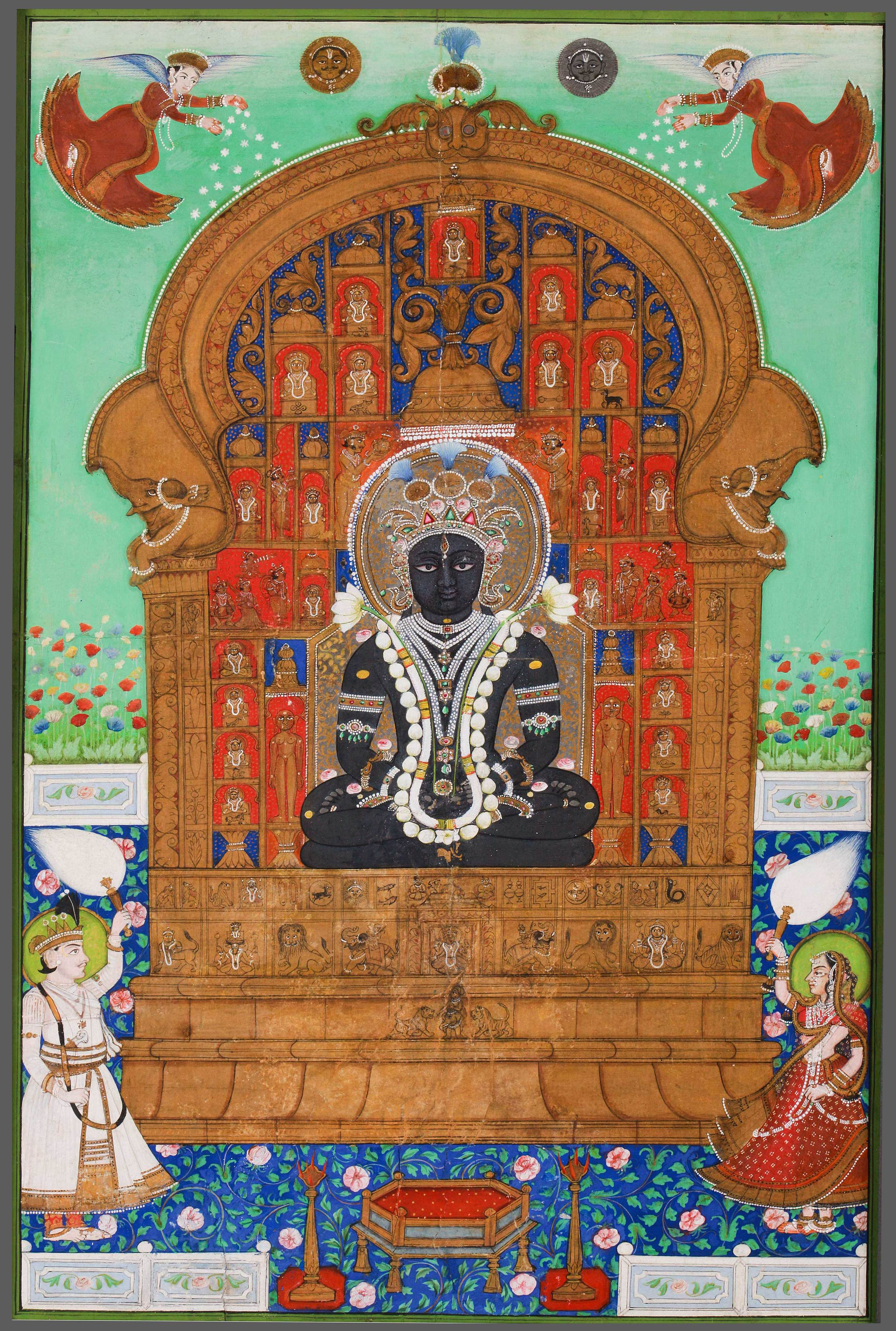 Adinath Enth  roned.  Western India, late 18th – mid 19th century. Mineral pigments on paper. 17 1/8 x 11 ¼ in. (43.5 x 28.5 cm). Shraman Foundation 2013.4.