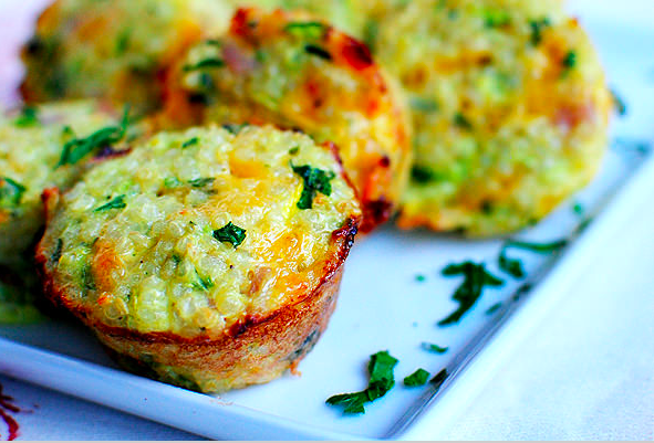 *Serves 16*   Ingredients:    2 cups grated zucchini (about 1 or 2 medium sized)  1 egg  1/2 cup grated Parmesan cheese  1/2 cup cooked quinoa  Option: 1/4 cup chopped cilantro, salt & pepper  Preheat oven to 400 degrees. Spray a mini muffin pan with nonstick cooking spray. In a bowl mix the zucchini, egg, cheese, quinoa, cilantro, salt and pepper (last 3 optional). Divide mixture into the muffin pan, filling to the top. Bake for 15-18 minutes until golden brown around the edges.   Stay tuned for a festive drink that is quick and easy to make!