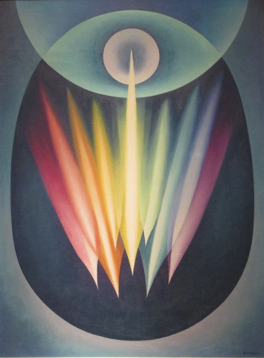"""Emil Bisttram,  Cosmic Egg Series no. 1 (Creative Forces) , c. 1936, oil on canvas, 36"""" x 27""""  Private Collection   Bisttram considered this one of his most important works."""