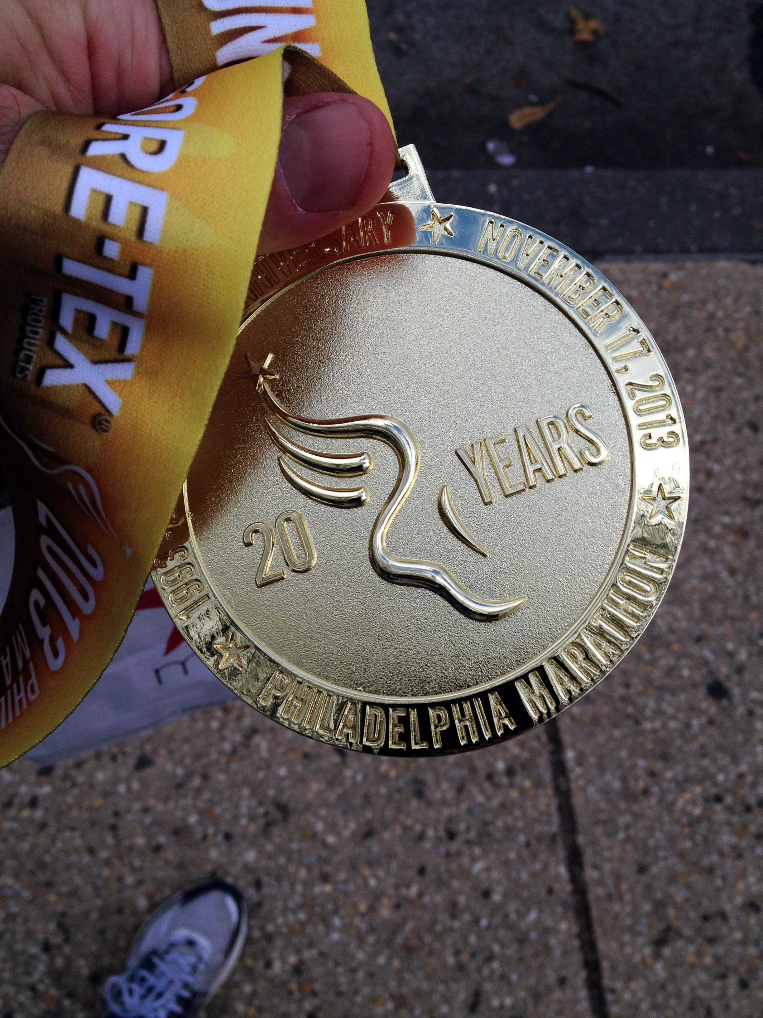 20th Anniversary Philadelphia Marathon Finisher's Medal.