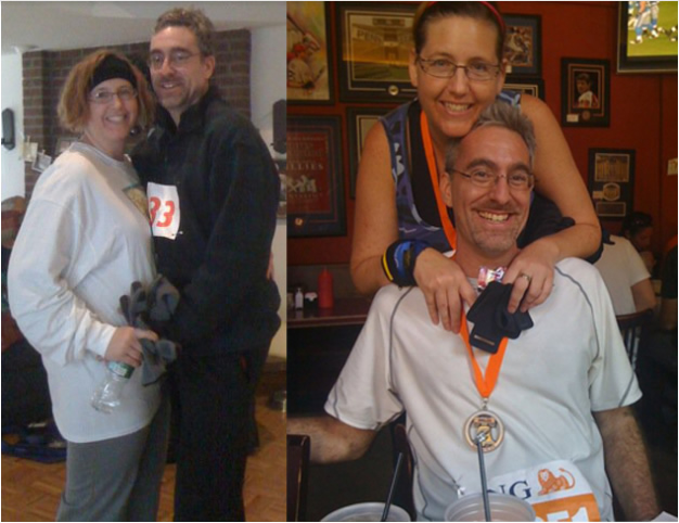 Ron and I after our 5K and, a few years later, after a half-marathon.