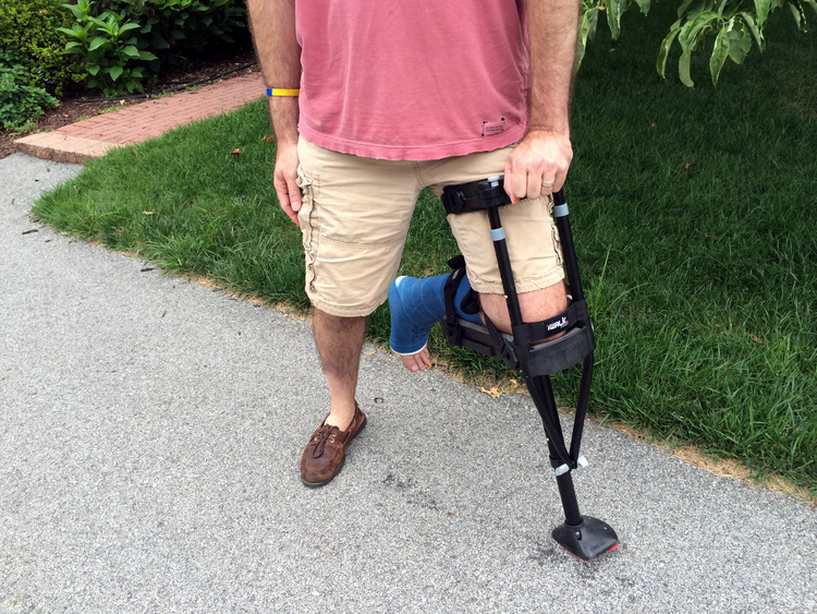 Me using the iWALK 2.0 Hands Free Crutch. This has been a life saver!