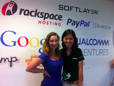 Producer and She Started It creator Nora Poggi , with Thuy Truong , GreenGar co-founder and CEO.