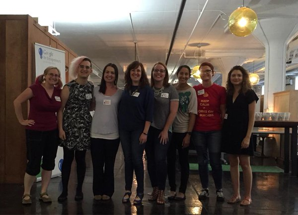 Speakers at the Everyday Geekette Event: (L-R) Bridget Kromhout, Jenn Kaplan, Maggie Mahan, Kristen Womack, Alison Beattie, Aneela Kumar, Renee Landers, Abbie Tuckner