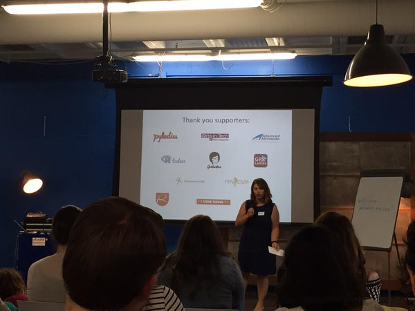 This year we supported #FemTech. Jenna telling the audience about TC Geekettes.
