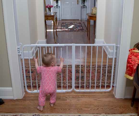 Gates can be used to keep children out of room with harmful objects.