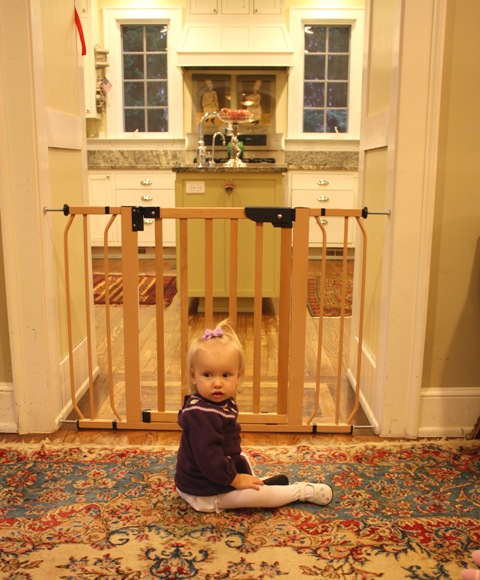 Pressure-mounted gate used in a doorway. I prefer to only use pressure-mount gates in doorways, never on the stairs.