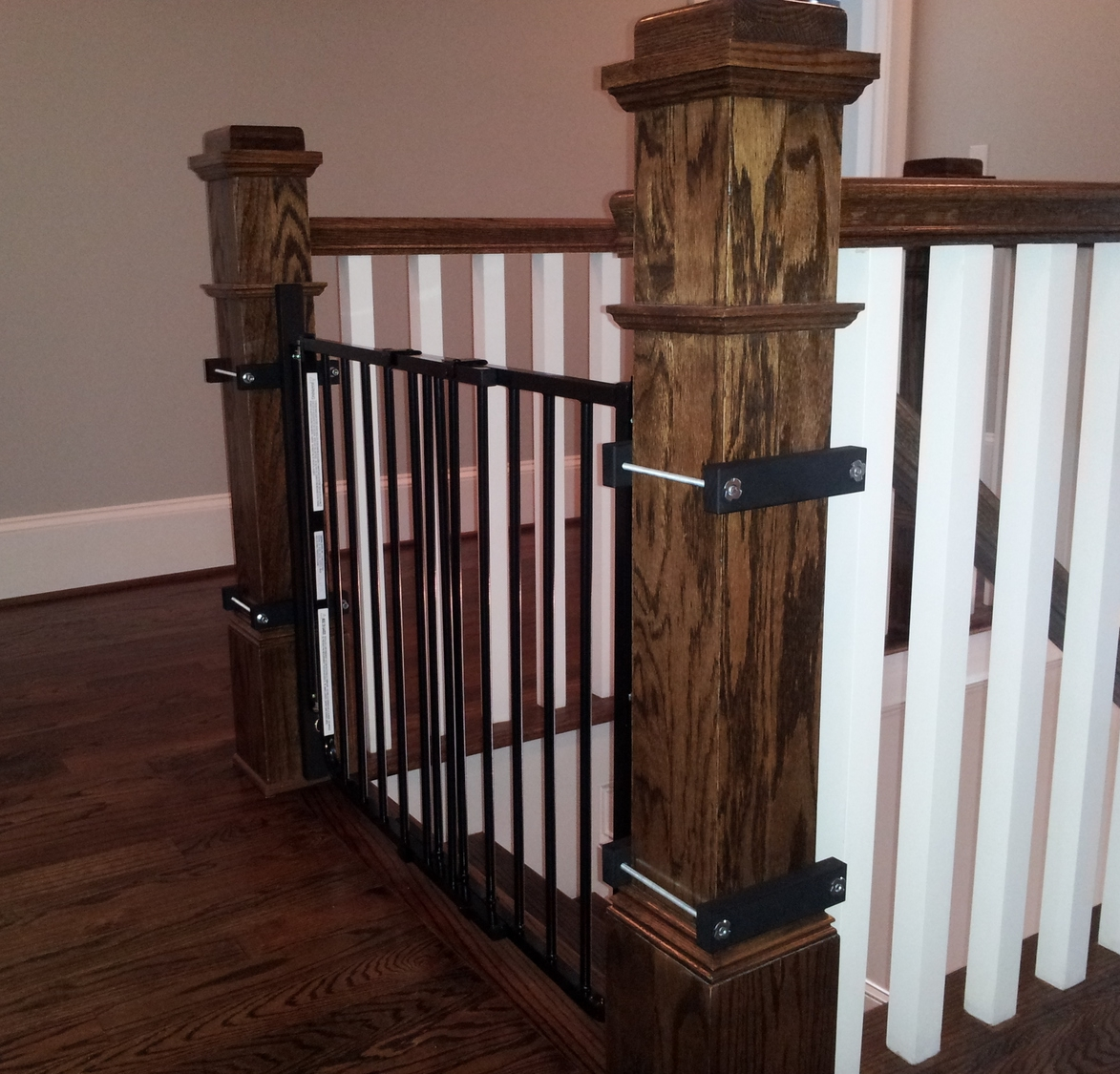 Gates can be securely installed without drilling into, or damaging banister posts