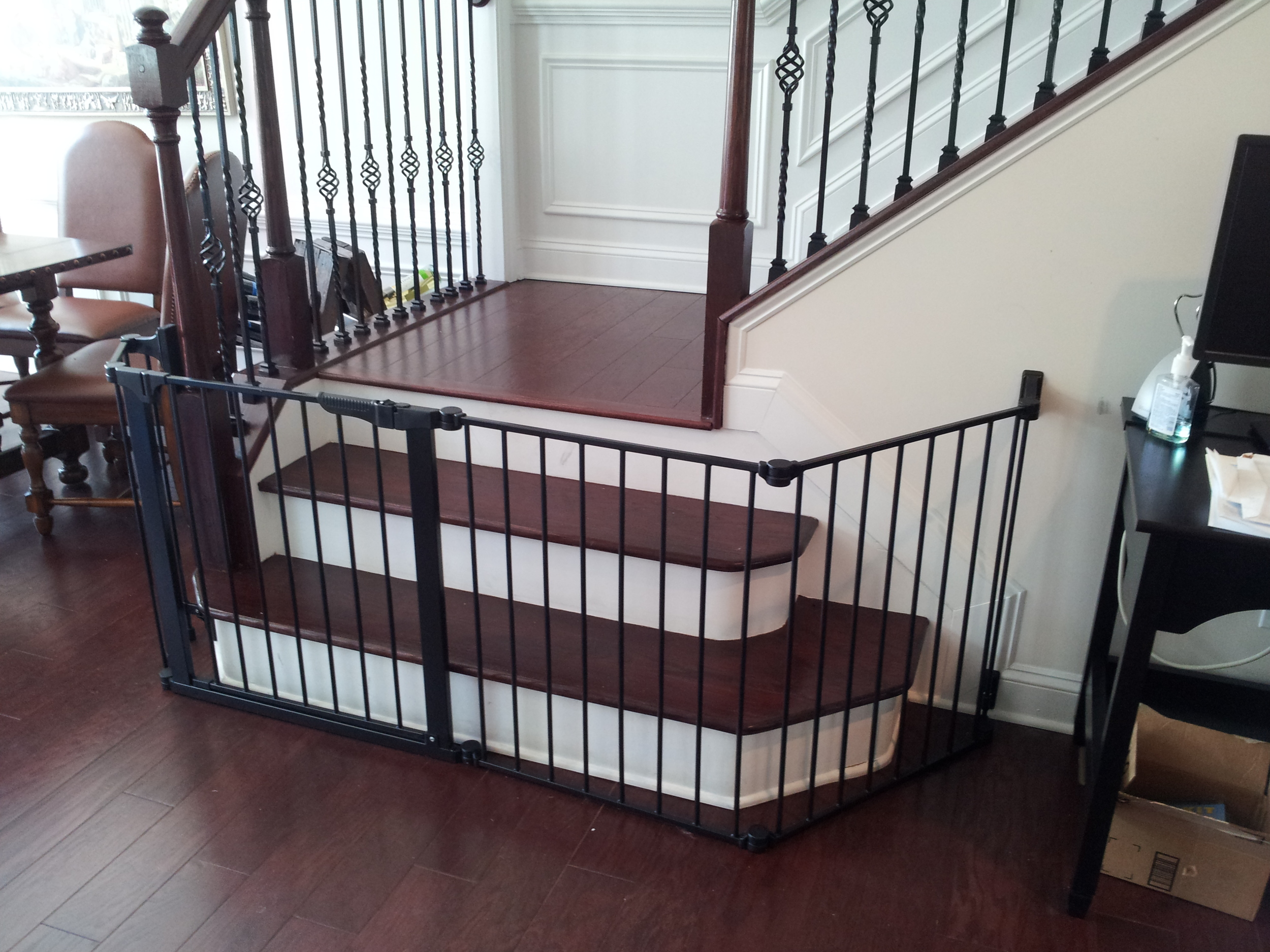 Custom fit gates can be used for odd shaped areas such as stairs with a bullnose step at the bottom