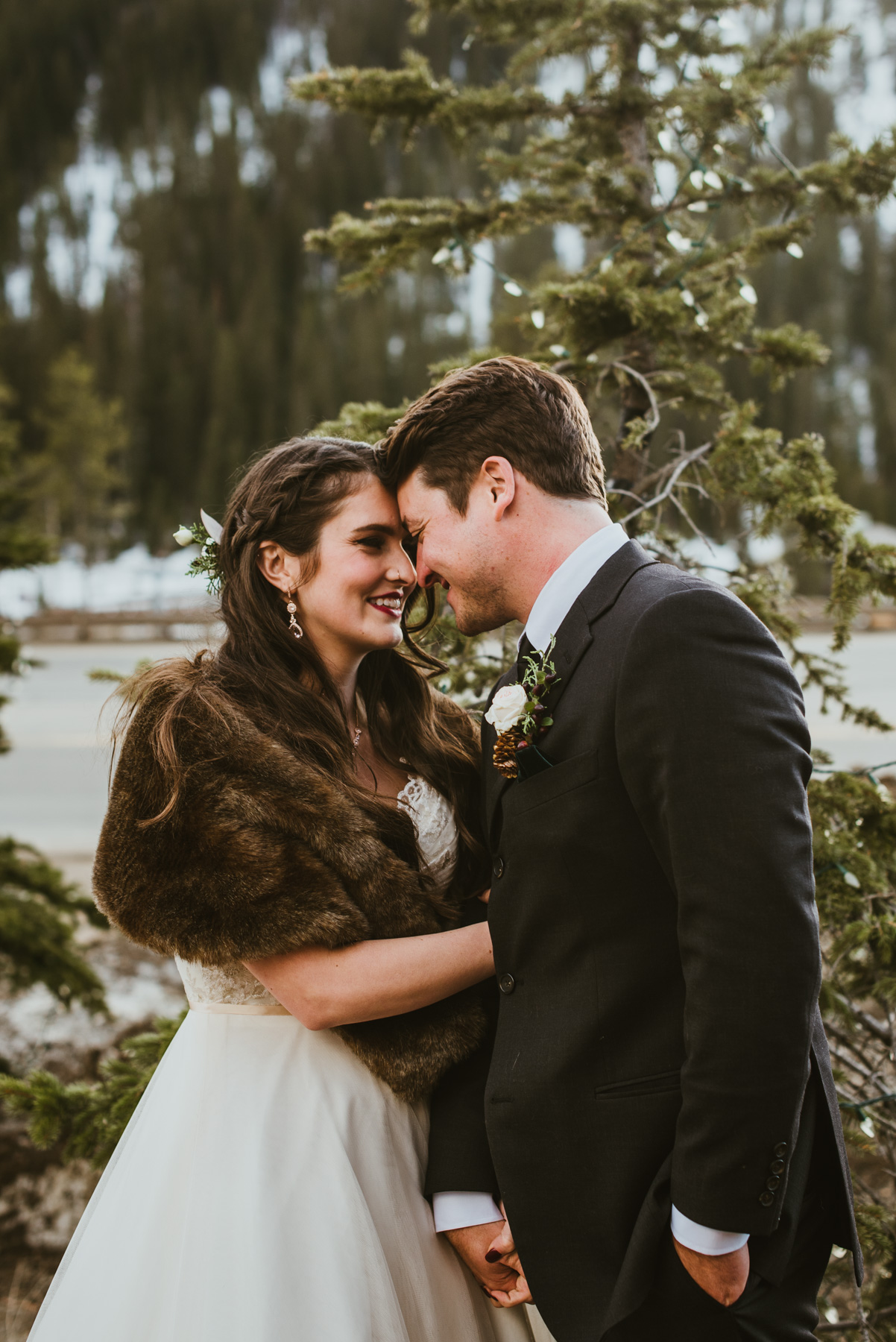 Colt and Abbie got married at the Winter Park Mountain Lodge in Winter Park, Colorado. It was a beautiful snowy day and the bride got her wish for a white wedding.