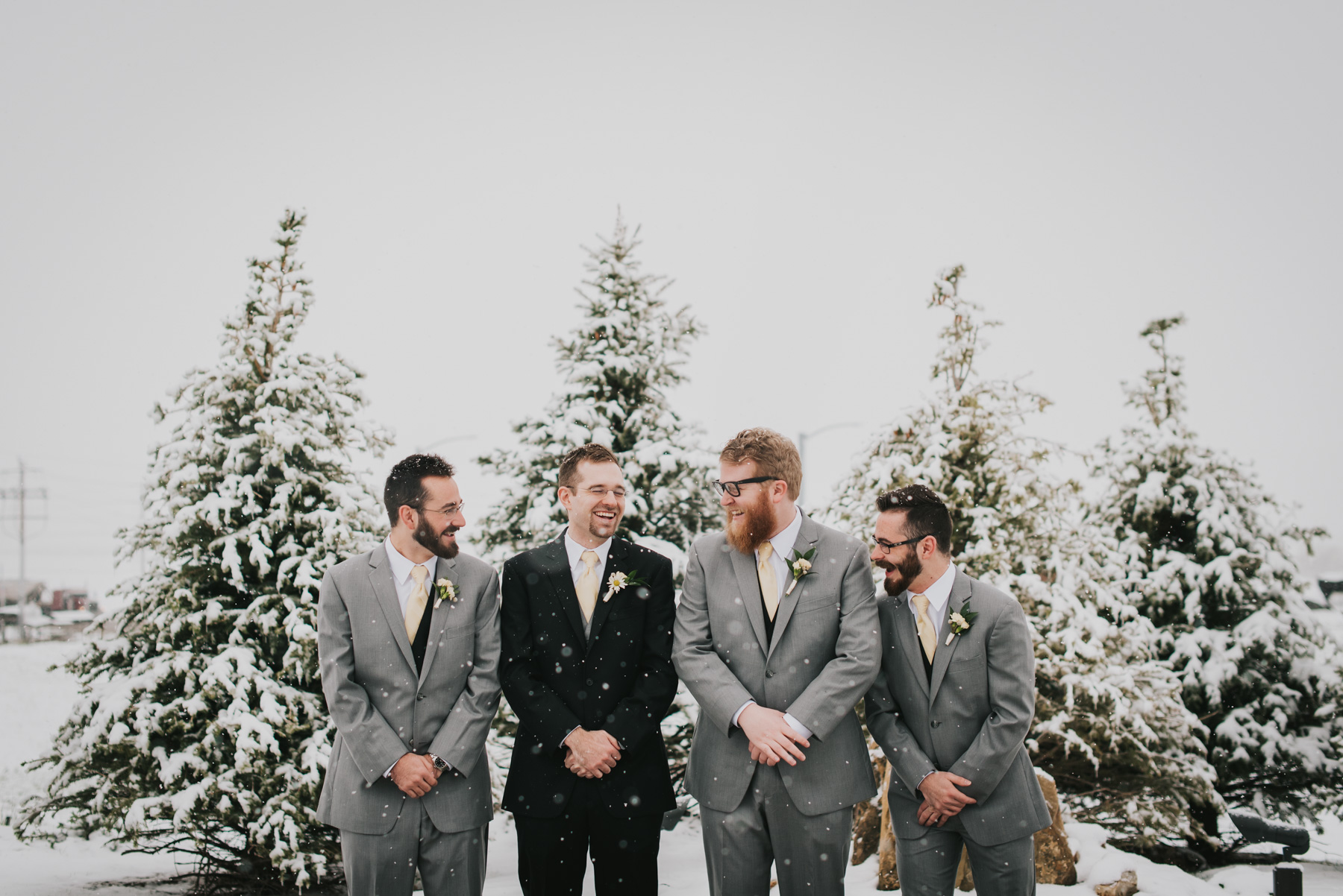 Jordan and his groomsmen, braving the snowy cold outside of their venue, the Windsor Estate Event Center, in Windsor, Colorado, right outside of Fort Collins. There was so much snow!
