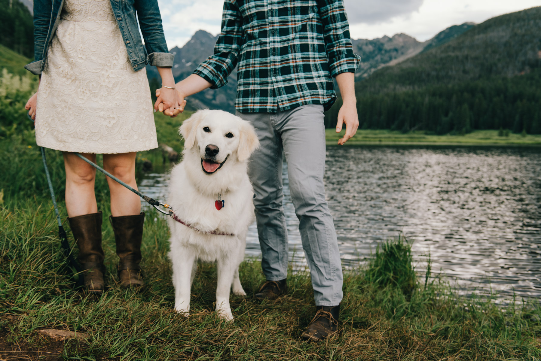 Erin and Clay with their adorable Golden Retriever. She was so happy to hang out with her mom and dad for their Piney River Ranch engagement session in Vail, Colorado. They loved hiking around, and even dipped their feet in the lake for me!