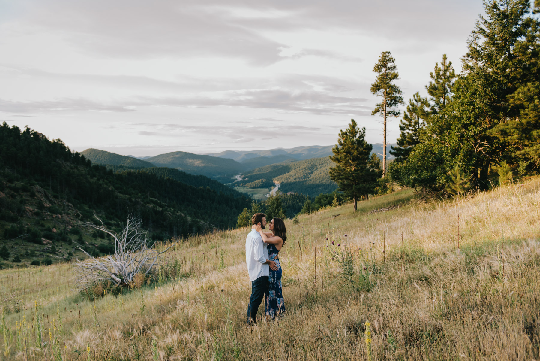 Nicole and Jamie during their Mount Falcon engagement session. We had a blast hiking around for their mountain adventure session. Mount Falcon is 35 minutes from Denver, so its a great spot for an outdoor engagement session in Colorado!