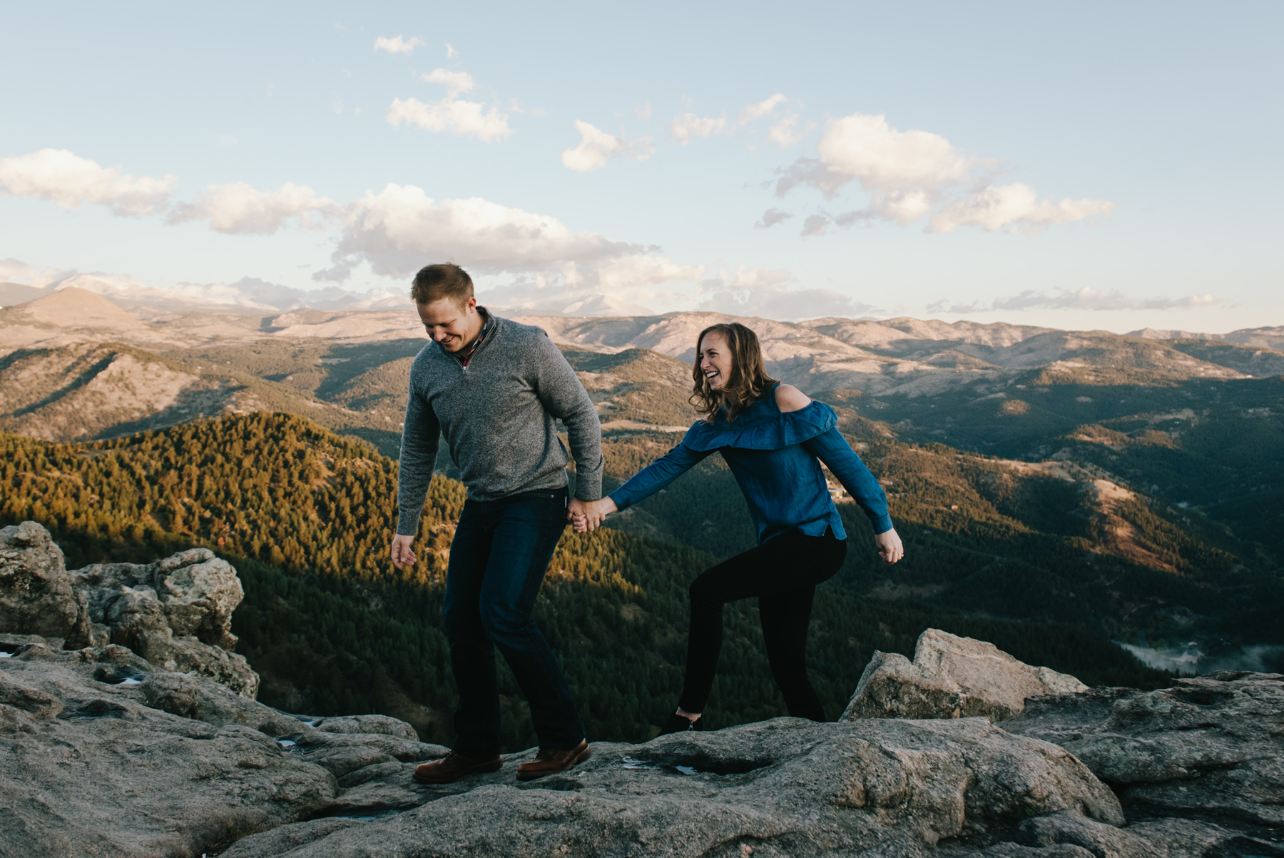 Michelle and Dain the morning of their sunrise mountain engagement session at Lost Gulch Overlook in Boulder, Colorado